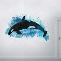Watercolor Orca Whale Wall Decal
