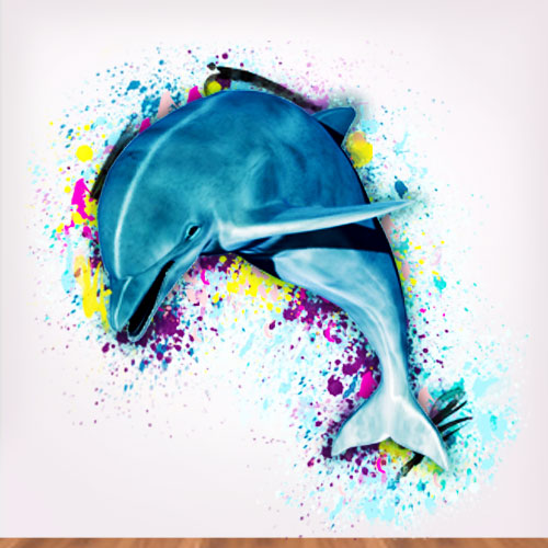 View Product Artsy Dolphin Watercolor Wall Decal