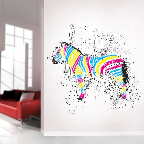 View Product CMYK Zebra Wall Decal