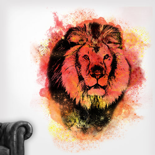 View Product Lion Spray Paint Wall Decal