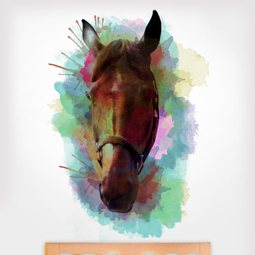View Product Watercolor Horse Head Wall Decal